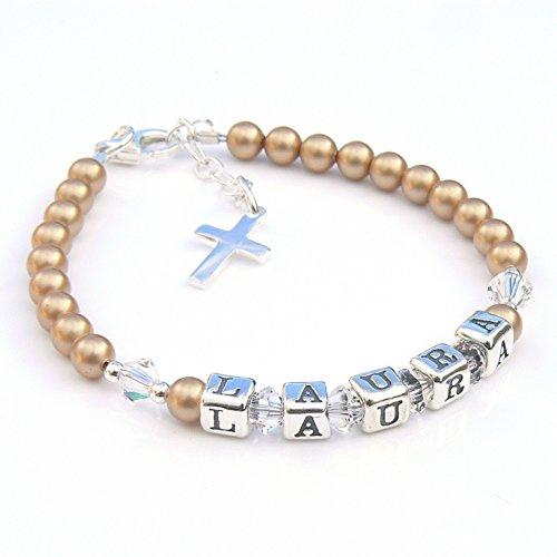 Vintage Argent sterling Perle et or - Bracelet de baptême Goddaughter cadeaux