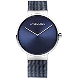 Angela Bos Men's Ultra Thin Simple Stainless Steel Quartz Wrist Watch for Men 8010 Blue