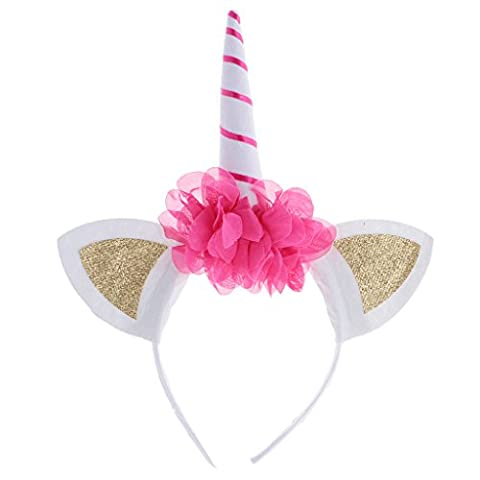 MagiDeal Licorne Serre-tête Floral Headband à Oreilles Corne Feutre Accessoire pour Déguisement Enfant Fille - Rose