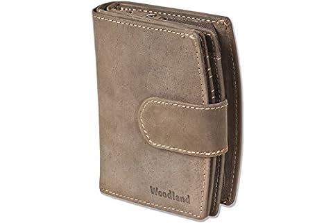Woodland® - Kompakte Luxus-Damenbörse mit besonders vielen Kreditkartenfächer aus naturbelassenem Büffelleder in Dunkelbraun/Taupe,