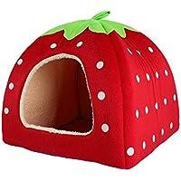 Sungpunet Caseta de fresa suave cachemir, cálida, para mascotas, perro, gato, cama, casas, plegable, color rojo
