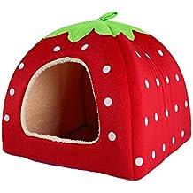 Sungpunet - Caseta con encantador diseño de fresa de suave cachemira, cálida, para mascotas