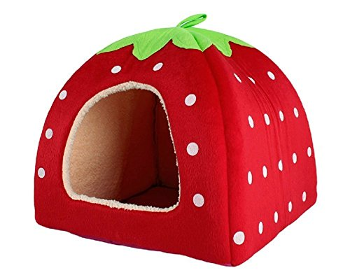 Sungpunet - Caseta con encantador diseño de fresa de suave cachemira, cálida, para mascotas, perro, gato, cama-caseta plegable, color rojo