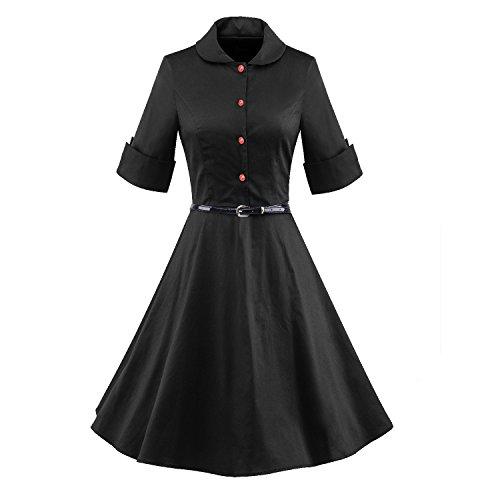LUOUSE 1950er 1/2 Hülsen Damen Vintage Retro Kleider Swing Kleid,Black,XXXL