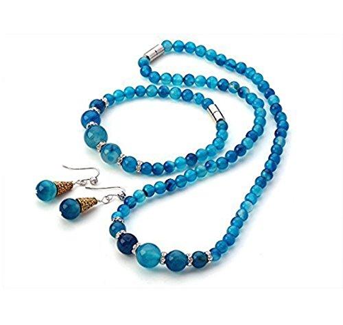Inspire set con collana, bracciale e orecchini con chiusura a calamita, 6-12 mm, colore: blu, con pietre di agata in scatola regalo
