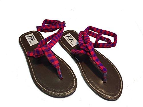 Sisi mbili sandali donna infradito etnici originali kenya in cuoio e stoffa masai mod. tsavo est (36)