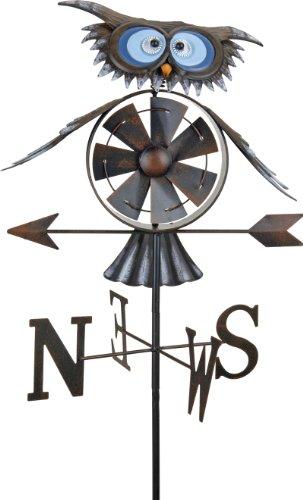 Wetterhahn Eule Windspiel Windrad Wetterfahne 150cm