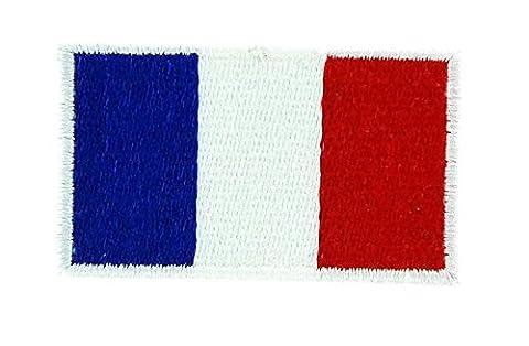 Patch écusson brodé drapeau france français thermocollant backpack sac à dos 3x5