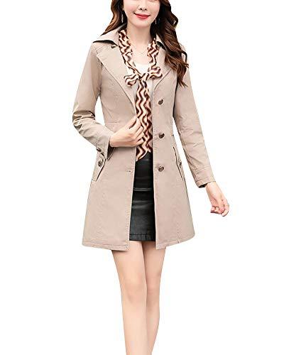 Yonglan Donna Risvolto Trench Coat Sottile Cappotto Manica Lunga Outwear  Cachi S 0fb7949e49e