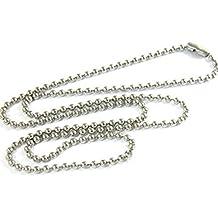 5c762a04ecf6 NiceButy collar colgante collar cadena bola perlas 3 mm en acero inoxidable  aleación Dog Tag Placa