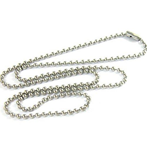 NiceButy collar colgante collar cadena bola perlas 3mm en acero inoxidable aleación Dog Tag Placa Militar ejército cadena Fantasía joyas DIY regalo para hombre Unisex plata 53cm