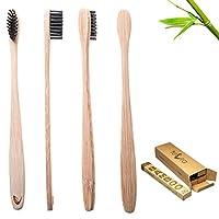 TEVRA - cepillo de dientes de bambú biodegradable con cerdas de carbón de leña - cuidado dental natural para toda la familia (paquete de 4)
