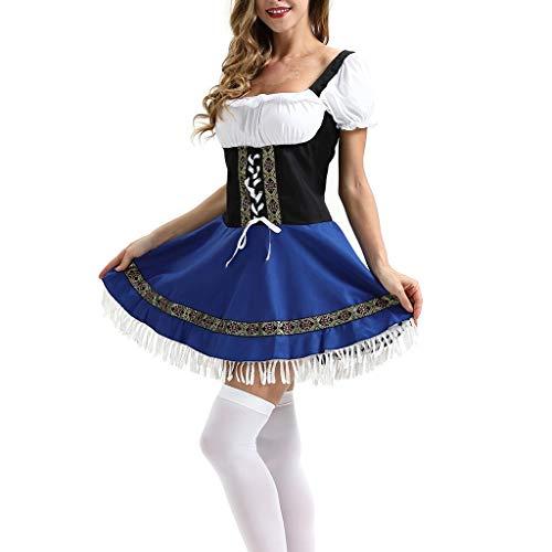 Bier Dienstmädchen Kostüm - Kinlene mit Stickerei, Dirndl Bluse, passender Schürze in verschiedenen Oktoberfest Kostüm für Damen Bayerisches Biermädchen Maid Dienstmädchen Kostüm Kostüm besticktes Kleid