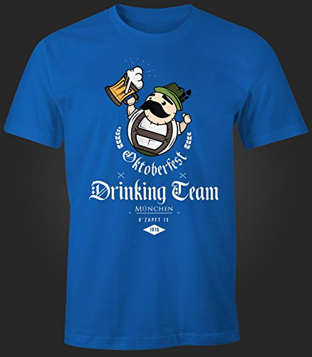 Herren T-Shirt - Oktoberfest Drinking Team - Comfort Fit MoonWorks® Royal