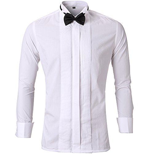 Herren Smoking (HARRMS Herren Smoking Hemd Slim Fit mit Krawatte Manschettenknopf Button Down Für Business Hochzeit Freizeit Bügelleicht/Bügelfrei,Weiß,41)