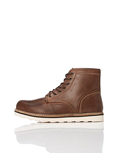 FIND Herren Leder-Boots, Braun (Dark Brown), 42 EU