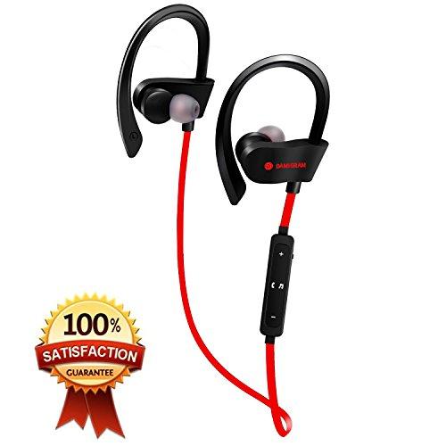 Foto de DAMIGRAM Auriculares Bluetooth Inalambricos IPX5, Bluetooth 4.1 Auriculares Deportivos Cancelación de Ruido Inalámbricos Resistentes al Agua con Micrófono para Moviles iPhone Samsung y Andriod Teléfonos (Red)