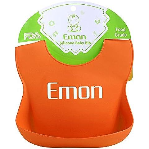 Emon Bavaglino in silicone impermeabile facilmente Salviette clean-comfortable Bavaglino morbido,