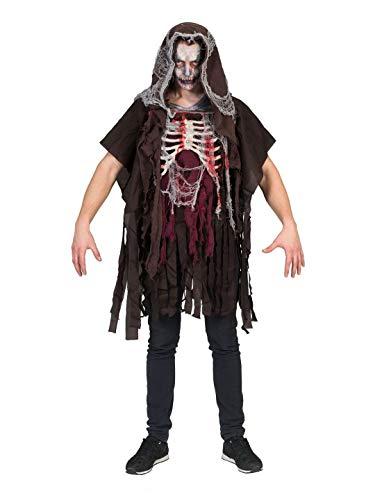 Halloweenia - Herren Männer Kostüm Skelett Innereien Pullover mit Fransen, Skeleton Robe with Hood, perfekt für Halloween Karneval und Fasching, One Size, Schwarz (Herr Innereien Kostüm)
