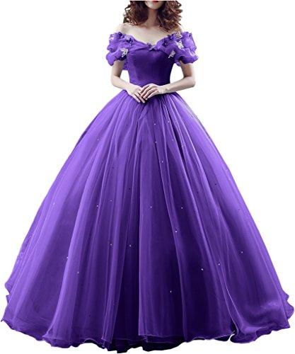 Sunvary Robe Longue Robe de Mariage Robe de Soiree Robe de Ceremonie Epaule Degagee Romantique Manche Courte en Papillon Perle Princesse Cordon de Serrage Violet