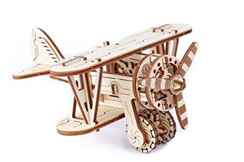 WOODEN.CITY WR304 - BIPLAN 3D-Holzbausatz Flugzeug Bausatz aus Holz, basteln und bauen ohne Klebstoff, Technik ab 14 Jahren