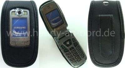 caseroxx Handy-Tasche Ledertasche mit Gürtelclip für Samsung SGH-E700 SGH-E710 SGH-E720 aus Echtleder, Handyhülle für Gürtel (mit Sichtfenster aus schmutzabweisender Klarsichtfolie in schwarz)