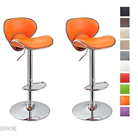 Tabouret de bar Lot de 2 Orange en similicuir avec dossier sélection de couleur à hauteur réglable Duhome 413D
