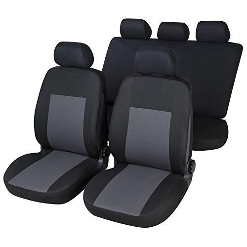 RMG R106V233 coprisedili per 207 fodere auto neri grigi compatibili con sedili dotati di airbag braciolo e sedili posteriori sdoppiabili