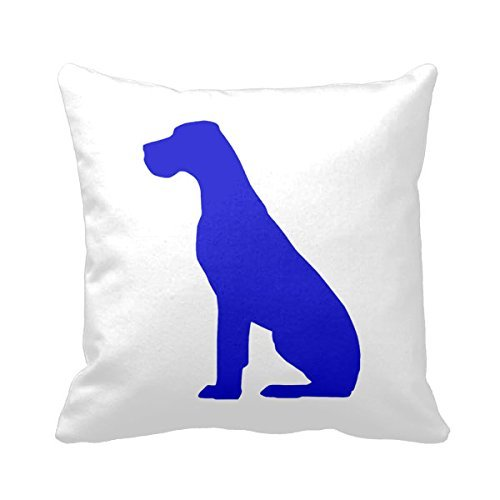 ZHIZIQIU Great Dane Natural Ears B;Ue 18 X 18 Pillow Cover Square Pillow Cases - Dane Zip