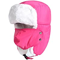 Unisex Kids Teens Winter Hat Aged 5-15Y, Thermal Fur Lined Trapper Hat with Ear Flap Windproof Face Mouth Mask Snow Ski Snowboarding Pilot Aviator Bomber Hat Cap Headwear