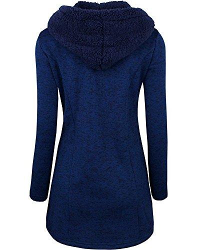 Damen Stylischer Warme Zweireiher Jacke Mantel mit Kapuze Blau