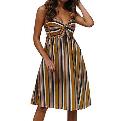 Wawer Damen Sommerkleid Streifen V-Ausschnitt Minikleid Spaghettiträger Mode Strandkleider Mit Gürtel -