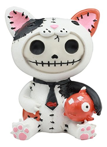 Ebros groß Furrybones Calico-Mao Mao Voodoo Katze mit Fisch Cute Figur Skelett Furry Bones Kapuzen Calico Cat Kostüm Skelett Monster Sammelfiguren (Monster Katze Kostüm)