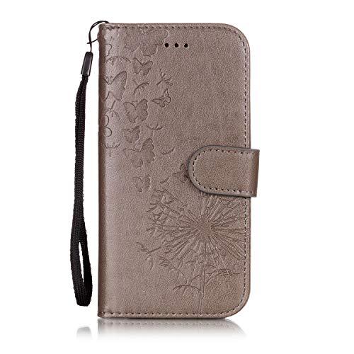 Cozy Hut iPhone 6 Hülle, Handyhülle iPhone 6S [Premium Leder] [Standfunktion] [Kartenfach] [Magnetverschluss] Schlanke Leder Brieftasche für iPhone 6 6S - Grauer Löwenzahnschmetterling