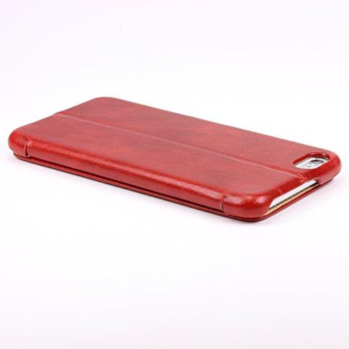 iPhone 6 Plus / 6s Plus Étui, iCareR Vintage Series Housse [avec Fente pour Cartes - Support] Coque Apple iPhone 6 Plus / 6s Plus Case Marron Smartphone Rouge