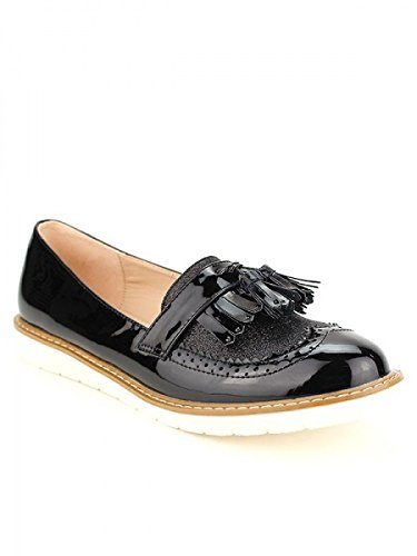 Cendriyon, Derbies Noires Vernies WEIDYS Chaussures Femme Noir