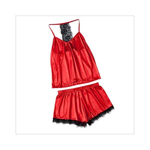 GROSIU& Women's Lace Sexy Underwear Shorts Large Size Pajamas 2PC Set Satin Night with Robe Women Nightgown Night Wears 3fn Pajamas XXXL