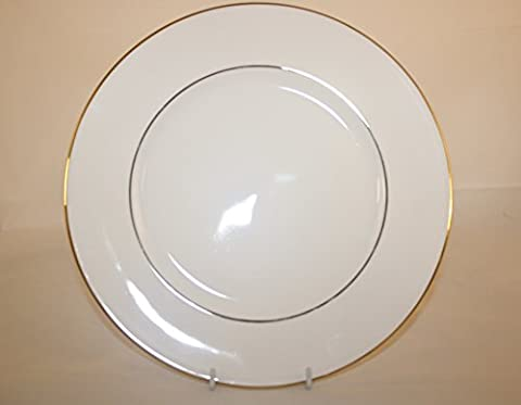 Quality English Fine Bone China 10.5 inch Dinner Plate. White and Gold French Edge. Hand Decorated in Staffordshire.