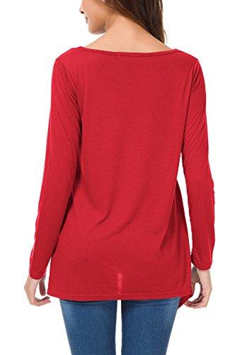 Urban GoCo Damen Langarm Loses Tasche T-Shirt Zwei Taschen Oberteil Tunika Rot
