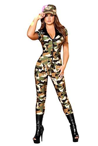 AniKigu Damen Armee Soldatin Kostüm Camouflage Cosplay Kostüm für Halloween Karneval Fasching mit Mütze