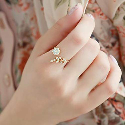 henanshupeng Stylish Korean Twisted Leaves Flower Rhinstone Open Ring Rose Gold Color Fingerring for Women Statement Adjustable Ring Großhandel(None golden)