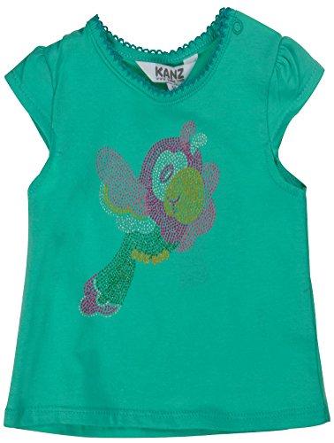 Kanz Baby - Mädchen Kurzarm Shirt T-Shirt mit Flügelärmel, mit Print, Gr. 68, Grün (biscay green|green 5236)