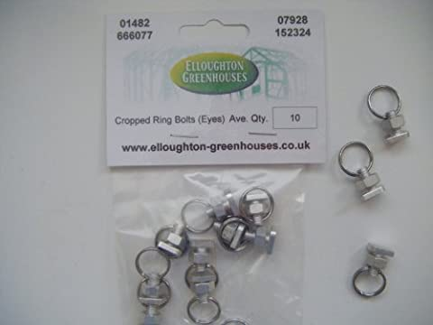 10 Greenhouse Nut and Cropped Bolt Ring Sets - Split Ring Eyes for attaching wires, twine grow lamps etc., fits into greenhouse glazing