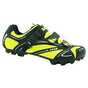 zapatilla de ciclismo LUCK TEAM REVOLUTION MTB , con suela de carbono y cierre milimétrico de precisión.(48 EU , amarillo)