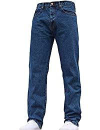 Mens Straight Leg Heavy Duty Work Basic 5 Pocket Plain Denim Jeans Pants All Waist & Sizes
