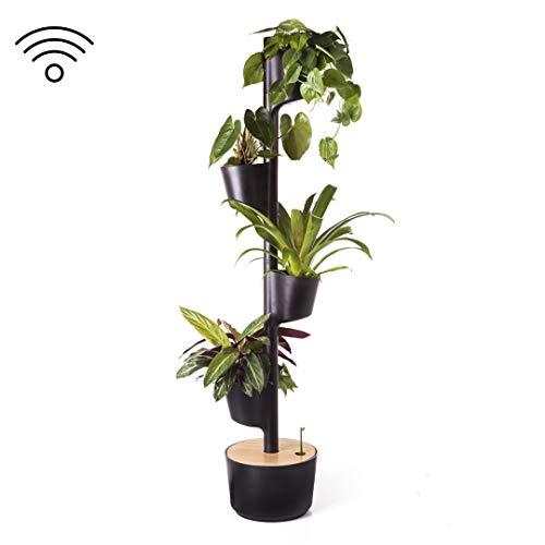 giardino verticale modulare con auto-irrigazione smart, nero, 4 vasi