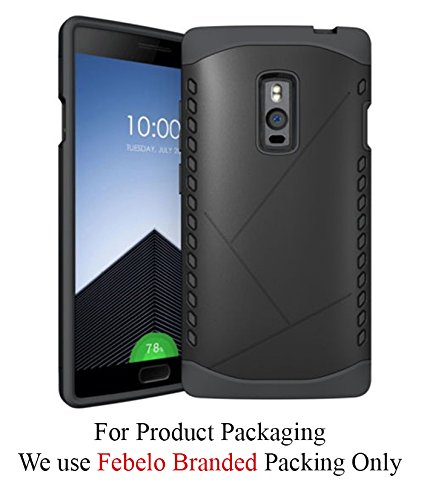 Febelo Branded Shockproof Armor Dual Protection Back Cover Case For One Plus Two OnePlus2 - Black Color
