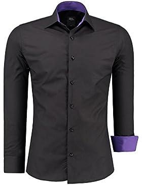 Vogst - Camicia a maniche lunghe da uomo, slim fit, facile da stirare, taglie dalla S alla 6XL nero XXXXL