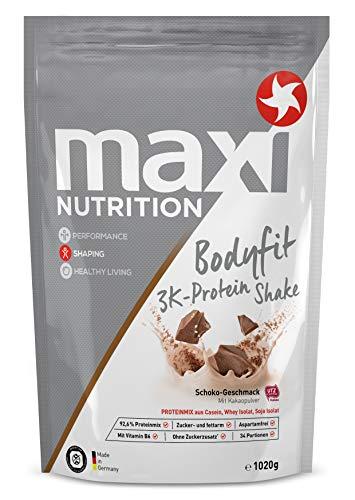 MaxiNutrition Bodyfit 3K Protein Shake Schokolade – Mehrkomponenten Protein Shake mit Casein, Molkenproteinisolat & Sojaproteinisolat für den Muskelaufbau – 1 x 1020 g Beutel