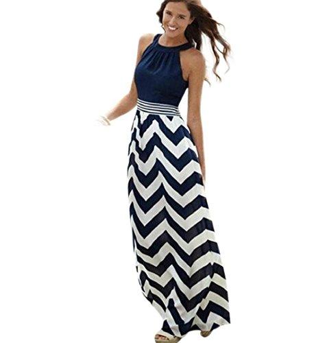 ZEZKT Blau Streifen Maxikleid, Damen Sommerkleid Kleider Schulterfrei Rundhals High Waist Lang Kleid Partykleid (L)
